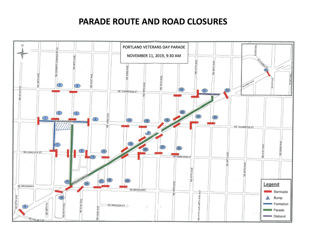 2018 Portland Veterans Day Parade Route